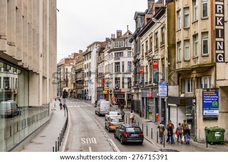 BRUSSELS, BELGIUM - MAY 3, 2015: Architecture of Brussels, Belgium. Brussels is the capital and largest city of Belgium and the capital of the European Union