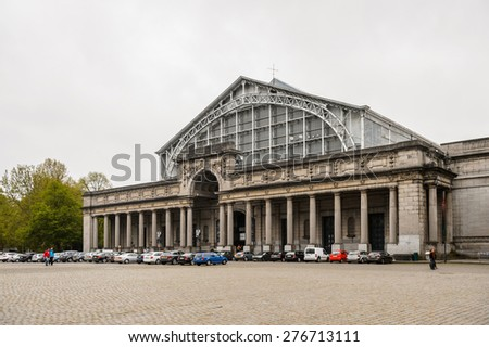 BRUSSELS, BELGIUM - MAY 3, 2015: Cinquantenaire triumphal arch in Brussels, Belgium. Brussels is the capital and largest city of Belgium and the capital of the European Union - stock photo