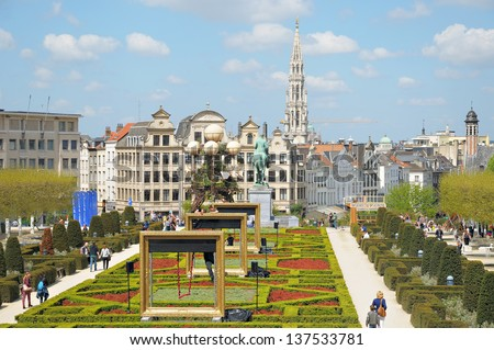 BRUSSELS, BELGIUM-MAY 5: Decorated Le Mont des Arts in annual Day of Iris - Fete de l'Iris on May 5, 2013 in Brussels.