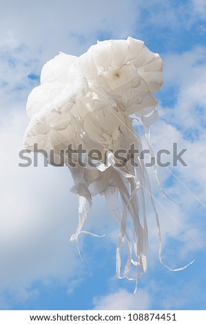 BRUSSELS, BELGIUM-MAY 19: Giant jellyfish as part of creative compositions shown during Zinneke Parade on May 19, 2012 in Brussels, Belgium. This parade is a biennial urban and free-attendance event. - stock photo