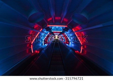 BRUSSELS, BELGIUM - MAY 20: Inside the Atomium structure famous Belgium  sight, - cosmic style  interiors , in Brussels, Belgium on May 20, 2015 - stock photo