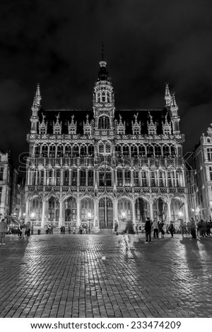 BRUSSELS, BELGIUM - MAY 11, 2014: Night view of the famous Grand Place (Grote Markt) - the central square of Brussels. Grand Place was named by UNESCO as a World Heritage Site in 1998. (Black&white). - stock photo