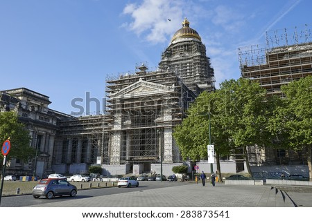 BRUSSELS, BELGIUM - MAY 27, 2015: The Court of Laws or Palace of Justice under reconstruction.  - stock photo