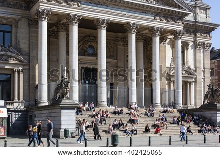 Brussels, Belgium - May 24  The Stock Exchange in Brussels, Belgium on May 24, 2015. The square in front of it is a ;place for manifestations and a popular meeting spot.  - stock photo