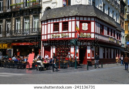 BRUSSELS, BELGIUM - MAY 5, 2014: Typical restaurant and tavern with outdoor tables in the old quarter of Brussels, Belgium - stock photo