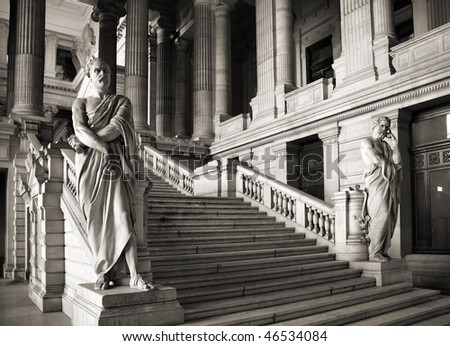 Brussels, Belgium. Monumental architecture landmark - Justice Palace (Palais de Justice). Eclectic and neoclassical style building serves as headquarters of several important law courts. - stock photo