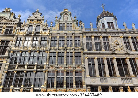 BRUSSELS, BELGIUM - OCTOBER 18:Close-up image of The Grand Place in Brussels on October 18, 2015.The Grand Place in Brussels