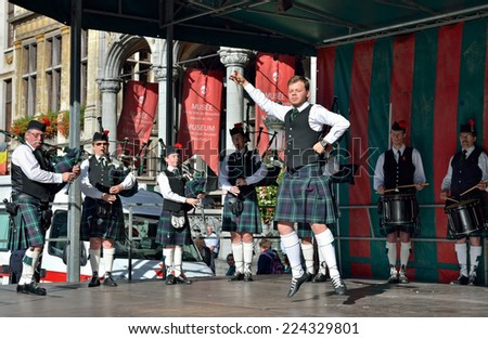 BRUSSELS, BELGIUM-OCTOBER 18, 2014: Concert of Flemish Caledonian Pipes group in frame of 75 Anniversary of Royal Union Of Belgian Professional Firefighters