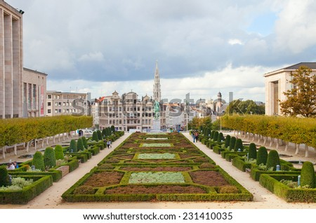 BRUSSELS, BELGIUM - OCTOBER 20: Kunstberg or Mont des Arts (Mount of the arts) gardens as seen from the elevated vantage point on October 20, 2014 in Brussels, Belgium.  - stock photo