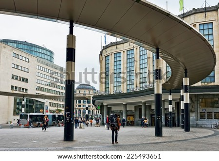 BRUSSELS, BELGIUM-OCTOBER 23, 2014: View of Central Railway Station of Brussels from Carrefour de l'Europe square. The station was opened in 1952 - stock photo
