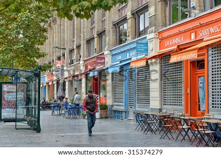 BRUSSELS, BELGIUM - SEPTEMBER 26, 2014: Avenue Stalingrad in center of Brussels in direction to South Railway Station - stock photo