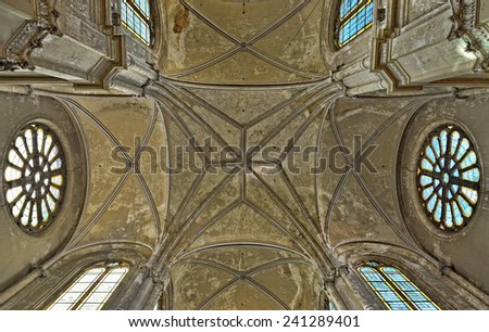 BRUSSELS, BELGIUM-SEPTEMBER 21, 2014: Ceiling in interior of Saint Catherine church. The church was built in 19 century - stock photo