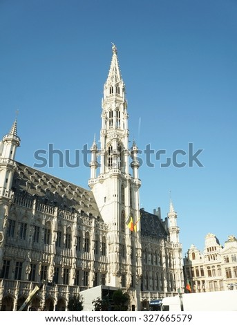 BRUSSELS, BELGIUM - SEPTEMBER 27 - Central square of the old town on September 27, 2015 in Brussels, Belgium