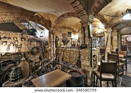 BRUSSELS, BELGIUM - SEPTEMBER 21, 2015: Old section of the ancient history of beer in the brewery museum in the house of Belgian Brewers at 10 Grand Place in Brussels, Belgium - stock photo