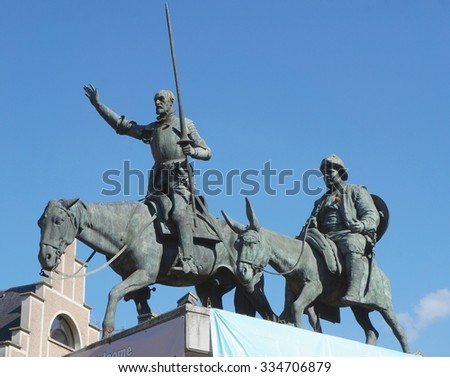 BRUSSELS, BELGIUM - SEPTEMBER 28 - Statue of Don Quixote and Sancho Panza in Brussels, Belgium on September 28, 2015 in Brussels, Belgium - stock photo