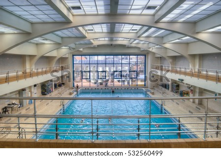 BRUSSELS, BELGIUM - 20/04/2015: The inside of the public swimming pool.