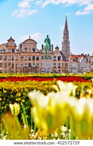 Brussels (Bruxelles), Belgium - May 07, 2016 - Scene of Brussels (Bruxelles) city from Kunstberg or Mont des Arts (Mount of the arts) with Equestrian monument of  King Albert I - stock photo