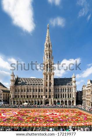 Brussels Grand Square with the traditional largest flower carpet year 2008 - no faces no trademarks - stock photo