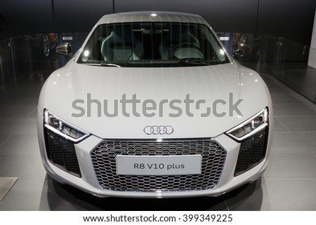 BRUSSELS - JAN 12, 2016: Audi R8 V10 Plus on display at the Brussels Motor Show. - stock photo
