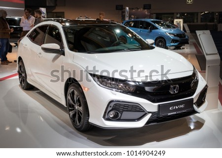 BRUSSELS - JAN 10, 2018: Honda Civic car shown at the Brussels Motor Show.