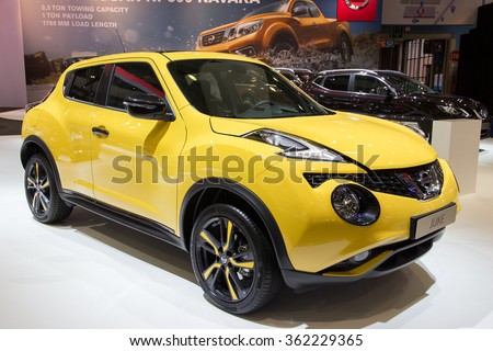BRUSSELS - JAN 12, 2016: Nissan Juke on display at the Brussels Motor Show.