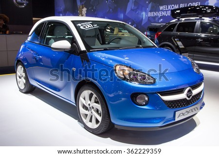 BRUSSELS - JAN 12, 2016: Opel Adam on display at the Brussels Motor Show.