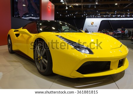 BRUSSELS - JAN 12, 2016: Yellow Ferrari 488GTB Spider sports car shown at the Brussels Motor Show. - stock photo