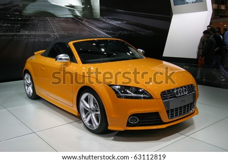BRUSSELS - JANUARY 20: Audi TT sport car shown on display at Euro motors 2008 exhibition  on January 20, 2008 in Brussels, Belgium. - stock photo