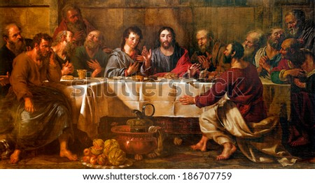 BRUSSELS - JUNE 21:  Paint of Last supper of Christ in st. Nicholas church from 17. cent. - stock photo