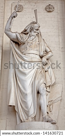BRUSSELS - JUNE 20: Statue of Moses from west facade of st. Jacques church build in 18. cent on June 20, 2012 in Brussels. - stock photo