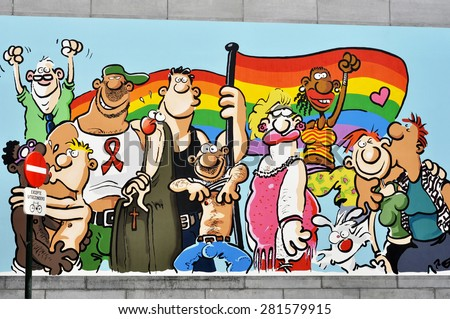 BRUSSELS - MAY 02: Street graffiti  for the gay pride parade in Brussels on May 02. 2015 in Belgium. - stock photo