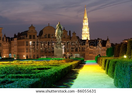 Brussels - Mont des Arts at night - stock photo
