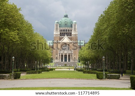 Brussels - National Basilica of the Sacred Heart - stock photo