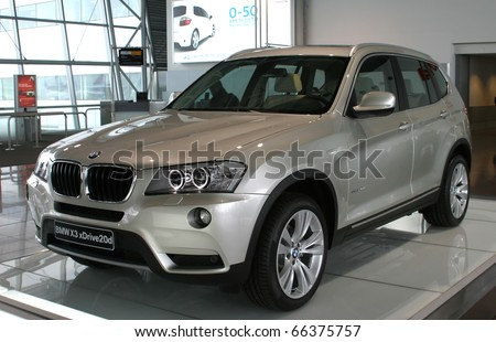 BRUSSELS - NOVEMBER 30: BMW X3 xDrive20d car shown on display in Brussels International Airport on November 30, 2010 in Brussels, Belgium - stock photo