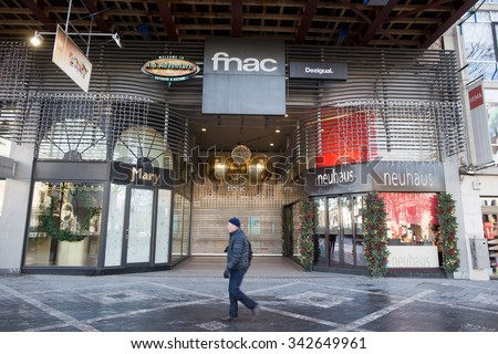 BRUSSELS - NOVEMBER 23: Closed shopping center at Port de Namur due to security lock-down following terrorist threats on November 23, 2015 in Brussels, Belgium.  - stock photo