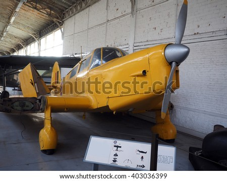 BRUSSELS-OCT. 1: An antique military Percival Proctor MK4 de Havilland airplane is seen on display at the Royal Museum  Armed Forces and Military History in Brussels, Belgium on Oct. 1, 2015.    - stock photo