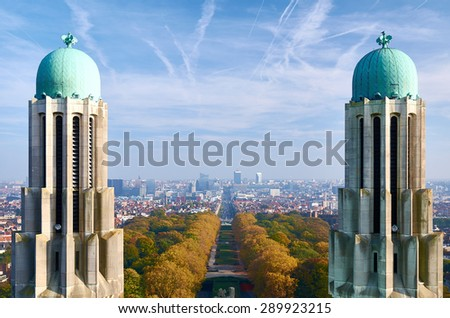 Brussels - outlook from the roof of National Basilica of the Sacred Heart to the financial district - stock photo