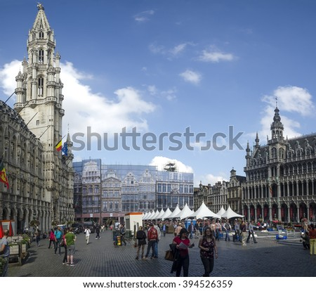 BRUSSELS - SEPTEMBER 3 2014 :Big panorama of Grand Place of Brussels. Belgium - stock photo