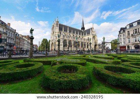 BRUSSELS - SEPTEMBER 15:  Church of our Blessed Lady of the Sablon seen from the Petit Sablon garden, taken on September 15, 2014 in Brussels, Belgium - stock photo