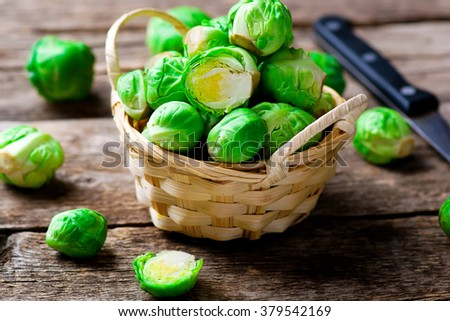 Brussels sprout in a bowl. style rustic. selective focus - stock photo