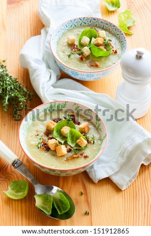 brussels sprout soup - stock photo