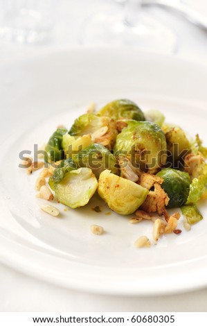 brussels sprout with chicken - stock photo