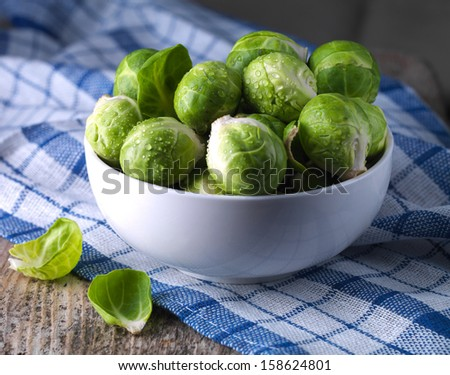 Brussels sprouts cabbage in a bowl - stock photo
