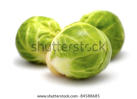 brussels sprouts cabbage isolated on white - stock photo