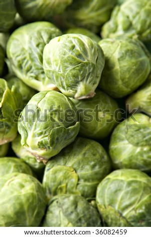 Brussels Sprouts in Pile in two sprouts in sharp focus