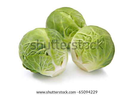 Brussels sprouts, isolated on a white background - stock photo