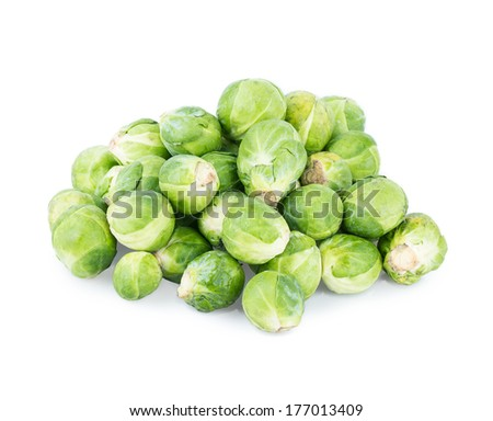 Brussels sprouts Isolated on white background - stock photo