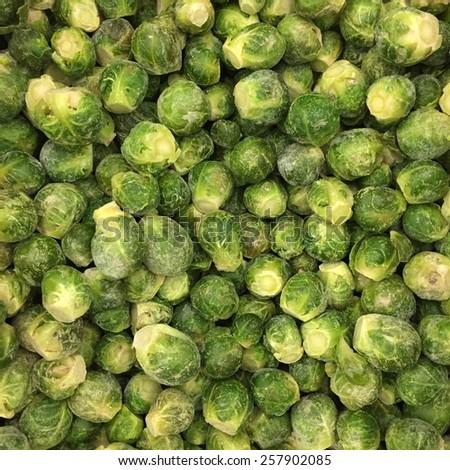 Brussels sprouts mini cabbages vegetables food background - stock photo