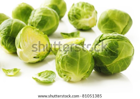 Brussels sprouts on white - stock photo