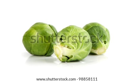 brussels sprouts on white background - stock photo
